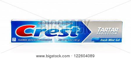 Winneconne WI - 3 May 2015: Package of Crest tarter control tooth paste.