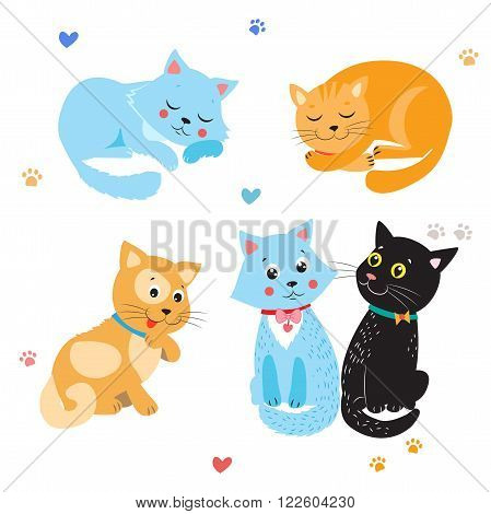 Cartoon Cute Cats Vector. Set Of Various Cute Cats. Kittens On White Background. Sleeping Cat. Sitting Cat. Cute Cats For Sale. Cute Cats Stickers. Cute Cats And Kittens. Cute Cats Compilation.
