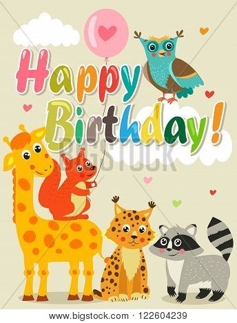 Happy Birthday Card With Funny Animals. Vector Illustration. Happy Birthday Images. Happy Birthday Beautiful. Happy Birthday Meme. Happy Birthday Sign. Happy Birthday To You. Happy Birthday Funny.