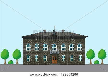 Old English House. Vector Architecture Illustration. Old House Plans. Houses For Sale. House Designs. House Pictures. Sale In England. Old House Designs. Brown Brick House. Historical Facade.
