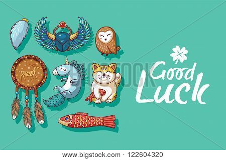 Good Luck. Collection of happy icons - maneki neko, owl, dreamcatcher, bug skoroby, unicorn, carp kite. Lucky icons and design elements isolated on green background