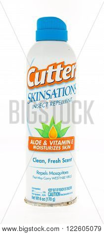 Winneconne WI - 20 April 2015: Spray can of Cutter Skinsations insect repellent containing aloe and vitamin E.