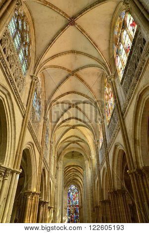 Les Andelys France - august 10 2015 : the collegiate church build in de 1225