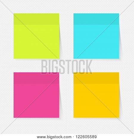 Color sticky notes set for business. Vector illustration.