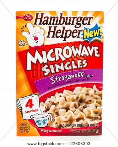 Winneconne WI - 8 February 2015: Box of Hamburger Helper Stoganoff microwave singles Just water to complete the meal.
