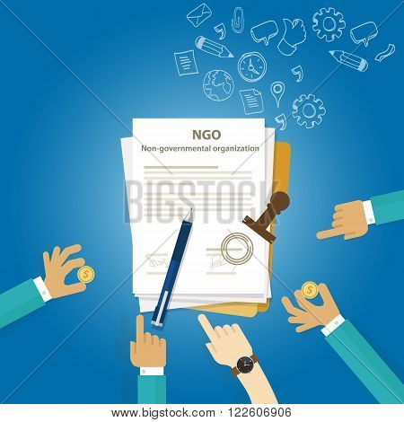 NGO Non Government Organization Types of business corporation organization entity vector