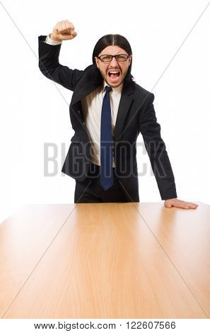 Young businessman swearing  isolated on white