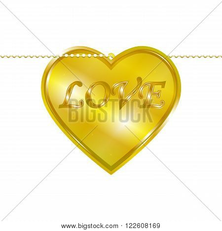 Vector illustration of a pendant in the form of heart on a gold chain. Golden decoration.