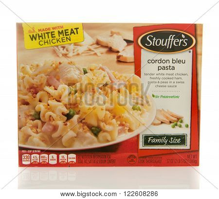 Winneconne, WI - 2 March 2016: Box of Stouffer's dinner of cordon bleu pasta