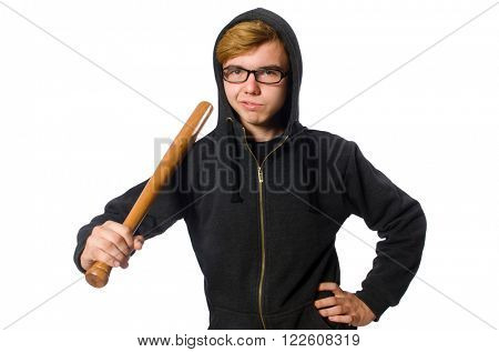 Aggressive man with baseball bat isolated on white