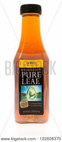 Winneconne WI - 3 May 2015: Bottle of Pure Leaf tea in leman flavor.