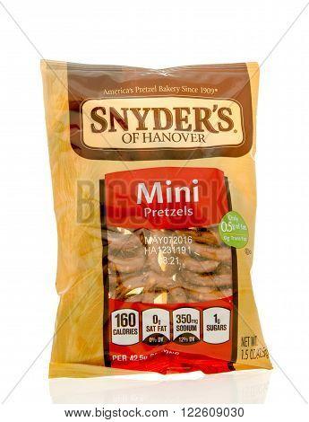 Winneconne WI - 19 Feb 2016: Bag of Snyder's of Hanover mini pretzels.