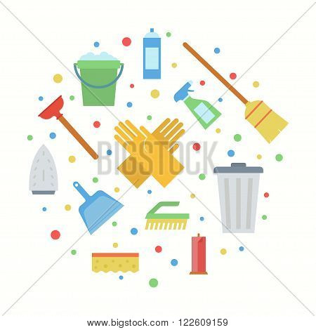 Cleaning vector illustration. Cleaning service concept. Cleaning office or house. Cleaning equipment image. Cleaning icon in flat style. Cleaning design.