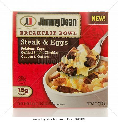 Winneconne WI - 2 March 2016: Box of Jimmy Dean breakfast bowl with steak eggs potatoes and cheddar cheese.