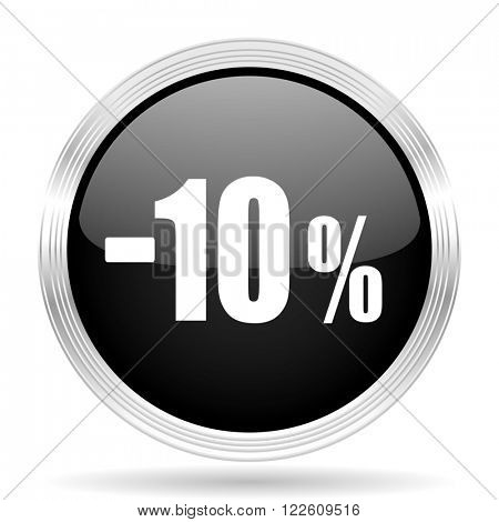 10 percent sale retail black metallic modern web design glossy circle icon