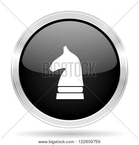chess horse black metallic modern web design glossy circle icon