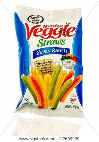 Winneconne WI - 19 Feb 2016: Bag of Garden veggie straws in zesy ranch flavor.