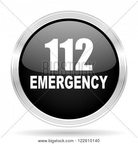 number emergency 112 black metallic modern web design glossy circle icon
