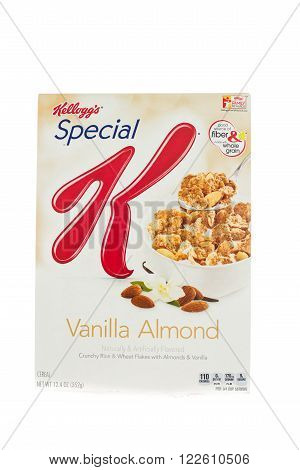 Winneconne, WI - 5 February 2015: Box of Kellogg's Special K Vanilla Almond cereal. Marketed as a low fat cereal.