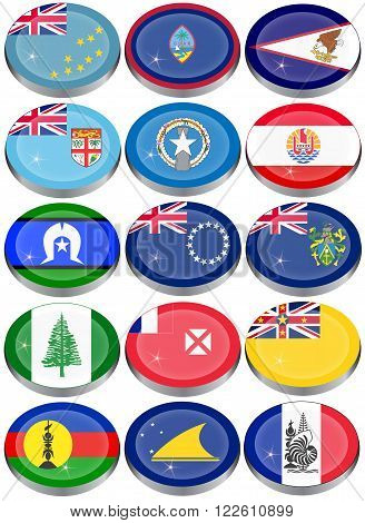 Flags of Australia, Oceania, Polynesia, Micronesia and Melanesia.