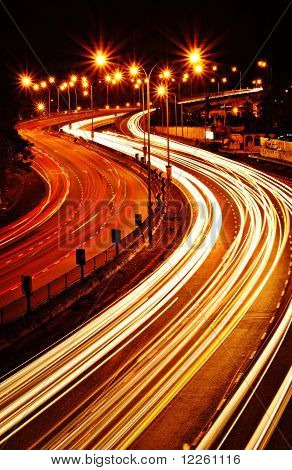 Light trail at highway