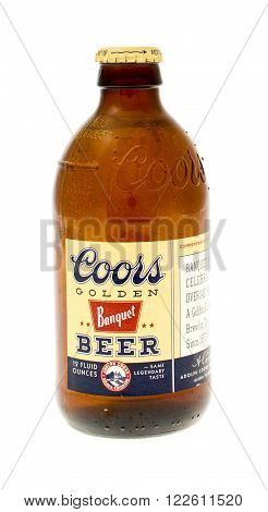 Winneconne WI - 19 April 2015: Bottle oo Coors Golden Banquet beer.