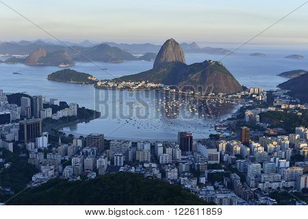 View of Botafogo bay with the Sugar Loaf in the background by day ** Note: Soft Focus at 100%, best at smaller sizes