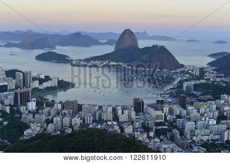 View of Botafogo bay with the Sugar Loaf in the background at sunset ** Note: Soft Focus at 100%, best at smaller sizes