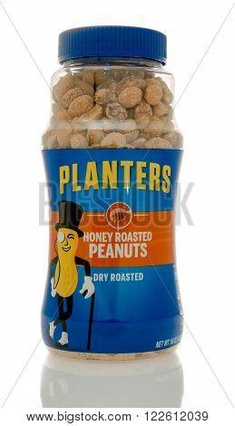 Winneconne WI - 19 Feb 2016: Bottle of Planters honey roasted peanuts