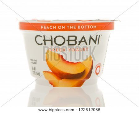 Winneconne WI - 1 March 2016: A container of Chobani Greek yogurt in peach flavor