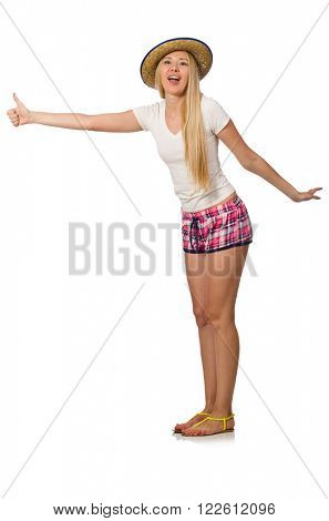Hitchhiker woman in pink plaid shorts isolated on white