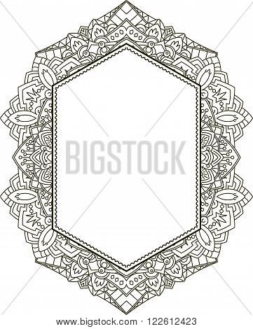 Unusual Vertical Hexagon Rich Decorated Floral Decorative Frame With Empty Space For Your Design Or