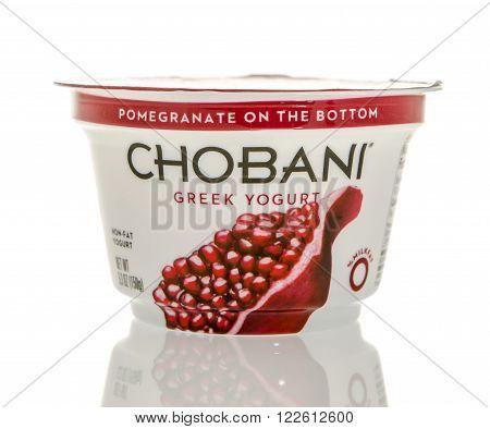 Winneconne WI - 26 Feb 2016: Container of Chobani Greek yogurt in pomegranate flavor.