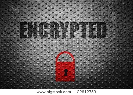 Encrypted text and red lock over metal background