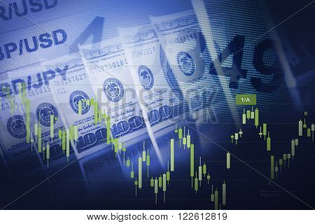 Forex Currency Trading Blue Concept with American Dollars.