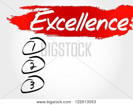 Excellence blank list business concept, presentation background