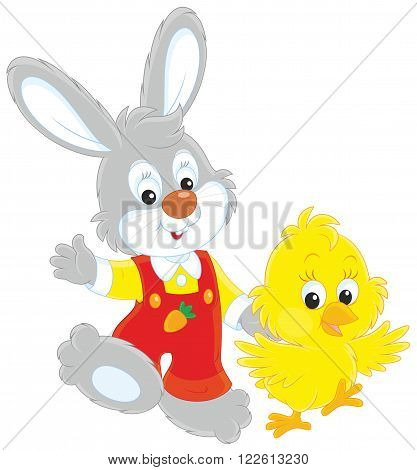 Bunny and Chick walking together and waving in greeting