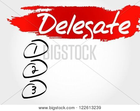Delegate blank list business concept, presentation background