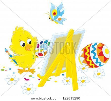 Easter Chick drawing a colorfully decorated egg on his canvas
