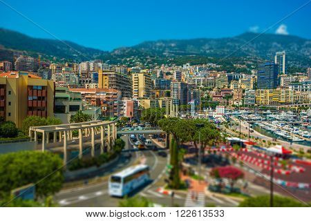 Monte Carlo Cityscape. Port Hercule and the City of Monte Carlo Monaco.