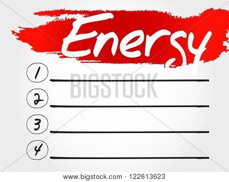 Energy Blank List, Fitness