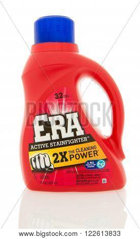 Winneconne WI - 4 Feb 2016: Bottle of ERA laundry detergent.