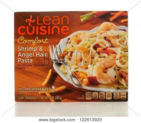 Winneconne WI - 2 March 2016: A box of Lean Cuisine shrimp & angel hair pasta
