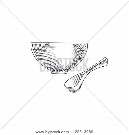 Engraving illustration of bowl with traditional Japanese miso soup and spoon isolated on white background