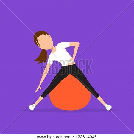 Aerobics. Train create a beautiful figure. Exercises on the ball. Pulling muscles of women. Dropping excess fat. Vector illustration.
