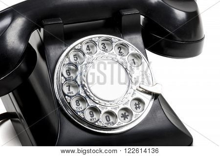 A Retro, Vintage Or Old Black Rotary Phone