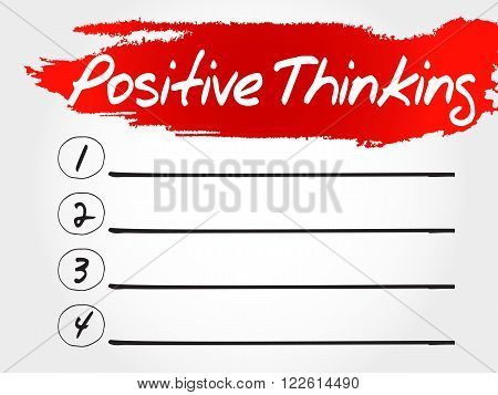 Positive thinking blank list health concept, presentation background