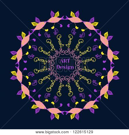 Creative Poster Concept for Art Design. Form of circle. Bright colors style. Motivational Quote Be Creative. Idea for design elements of art school, drawing courses. Vector Illustration.