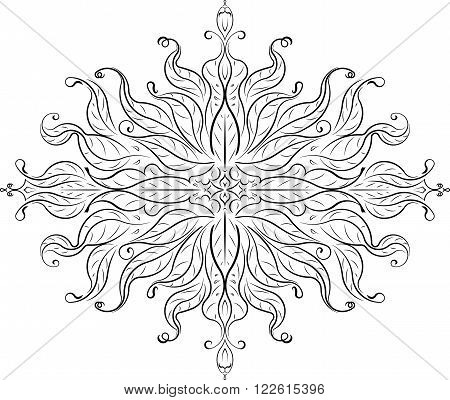 Unusual Abstract Vector Black Rhombus Floral Lace Design In East Style - Mandala, Ethnic Decorative