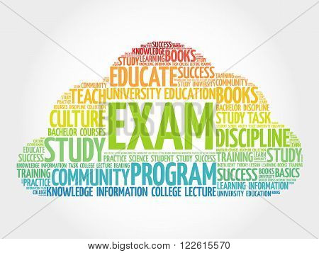 EXAM word cloud education collage, presentation background
